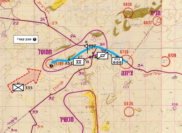 """איור מס' 29 – גדוד 257 עולה על """"חמוטל"""" בבוקר ה-10.10"""