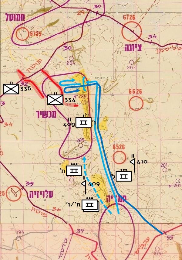 """איור מס' 30 – חטיבה 600 : פעילות כוח מג""""ד 410 והתקפת פלוגה ו'/409 בבוקר 10.10 ופעילות גדוד 409 בערב ה-10.10"""